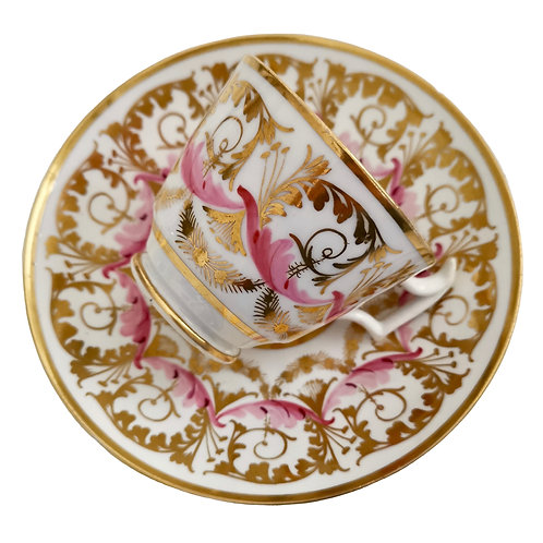 New Hall cup and saucer, gilt and pink sprigs, 1815-1820