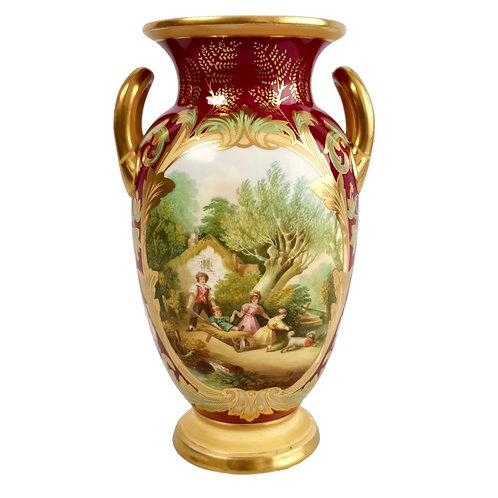 """Samuel Alcock vase, maroon """"The Holiday"""", ca 1850"""