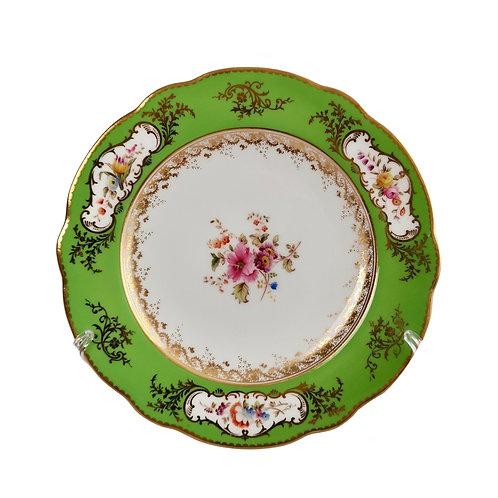 Coalport dessert plate, apple green, Sèvres style flowers and gilt, 1882