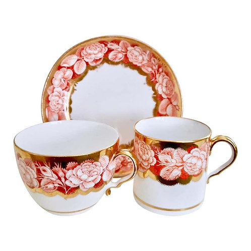 Spode trio, pluck & dust rose border patt. 984, ca 1806