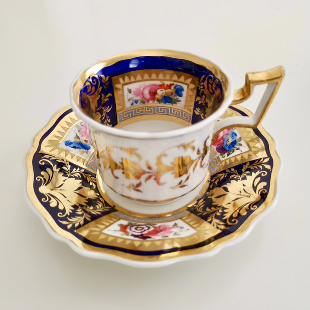 Ridgway coffee cup, flowers and Greek keys, ca 1825
