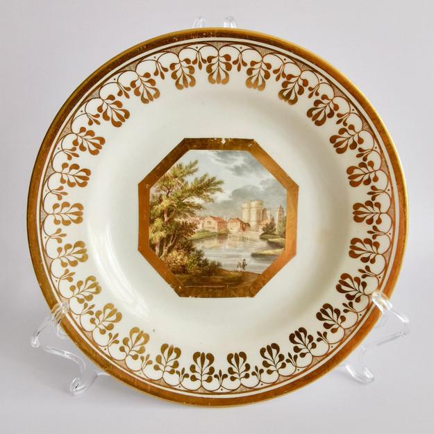 Coalport John Rose plate, Thomas Baxter West Gate Canterbury, ca 1810