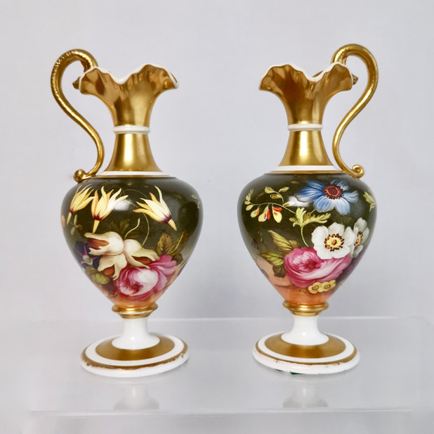 Pair of small Coalport ewers, ca 1825
