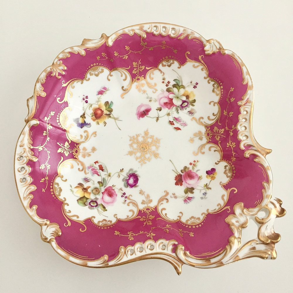Coalport serving dish maroon and flowers