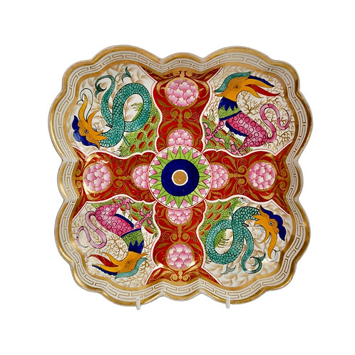 Square dish, Barr Flight & Barr, dragons in compartments, 1807-1813