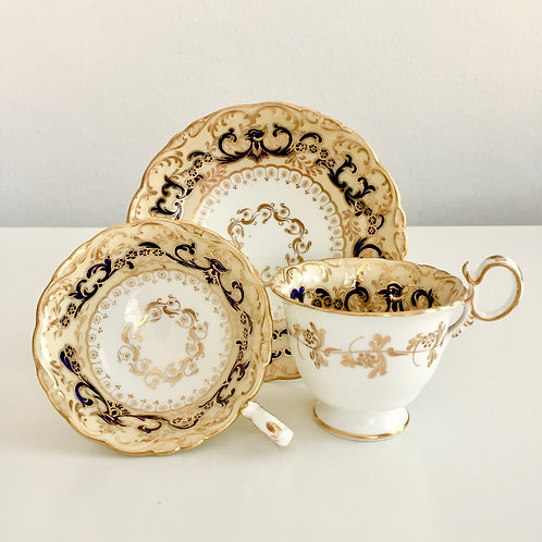 "Antique tea/coffee cup trio, ""Phoenix"" pattern on Adelaide shape, Coalport1840"