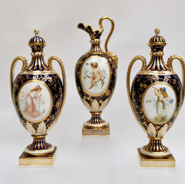 Minton garniture painted by Antonin Boullemier