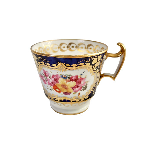 Coalport orphaned coffee cup, cobalt blue and flowers, ca 1815
