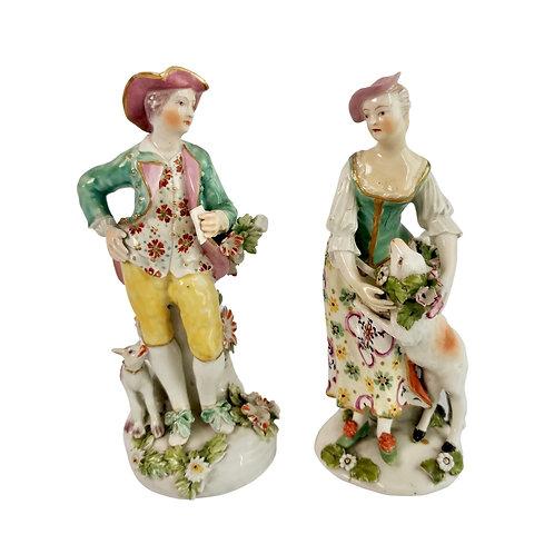 Derby pair of porcelain figures, Garland Shepherds, ca 1765