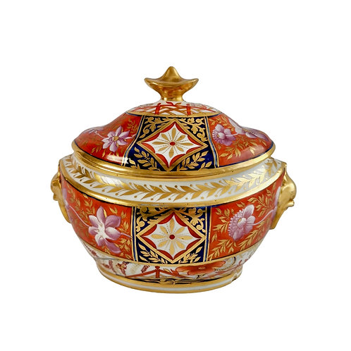 John Rose Coalport sucrier, Japan pattern red and purple, 1805-1810