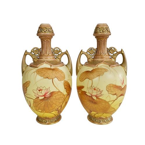 Royal Worcester pair of Persian vases, blush ivory Japanese lotus, 1890