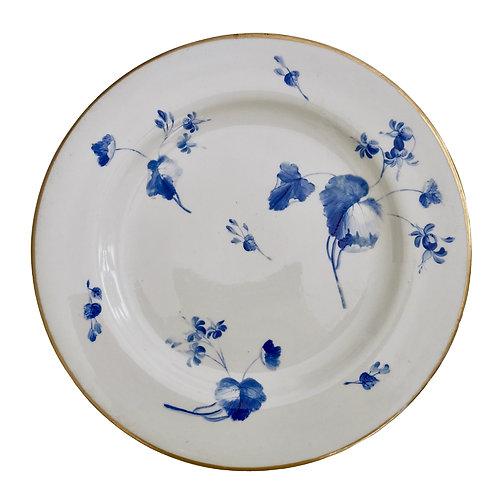 Flight Barr & Barr plate, fine blue flower paintings, ca 1815 A/F