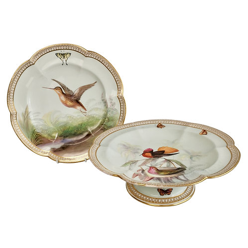 Coalport comport / cake stand and plate, birds by John Randall, ca 1875