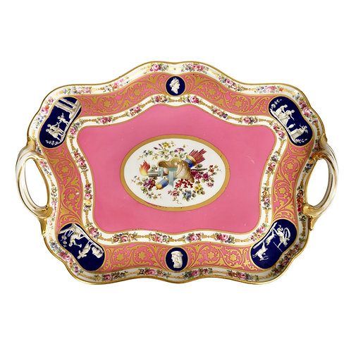 Minton cabaret tray, Rose du Barry pink Sèvres style, 1876