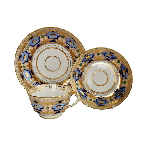 Herculaneum teacup trio, blue and gilt Regency pattern, 1800-1815