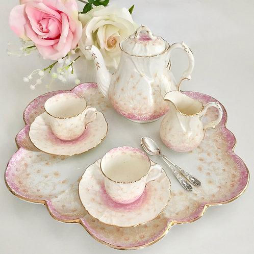 Cabaret set, pink Daisies tete a tete, Wileman 1893