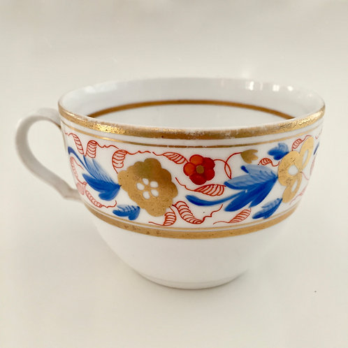 Orphaned Spode teacup, bute shape patt. 1132 red & blue flowers, 1807