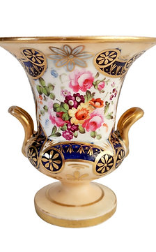 Staffordshire campana vase, salmon, gilt and flowers, ca 1820