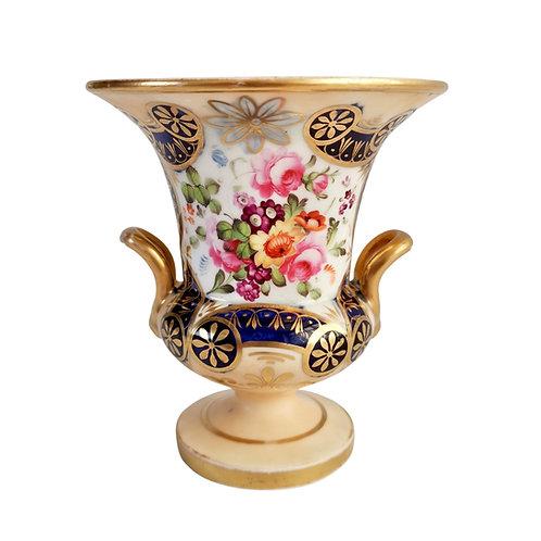 Staffordshire campana vase, salmon, gilt and flowers, ca 1820