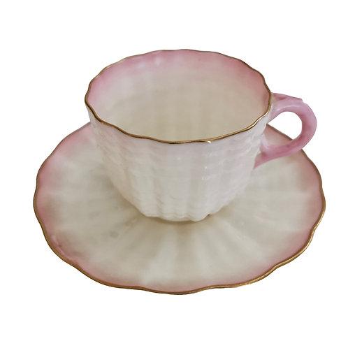 Belleek demitasse cup, pink Tridacna 2nd BM 1891-1926