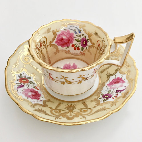 Coffee cup and saucer, yellow ground and flowers, Yates 1825