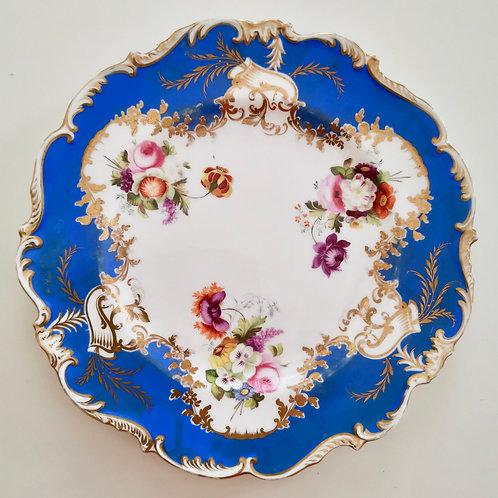 Coalport dessert plate, feather moulded royal blue, 1825-1830