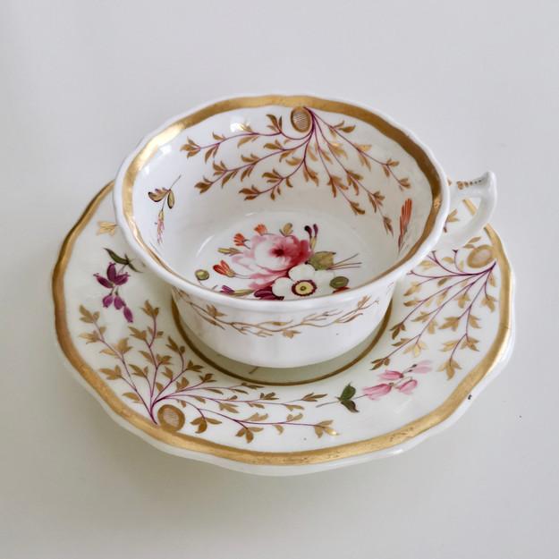 Staffordshire teacup, Swansea flowers, ca 1820