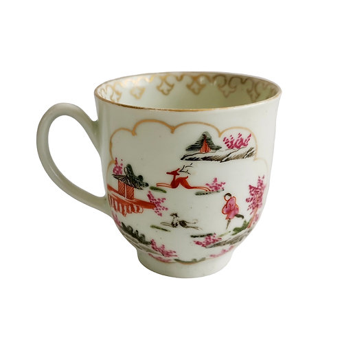 Worcester orphaned coffee cup, stag hunt pattern, 1st Period ca 1760