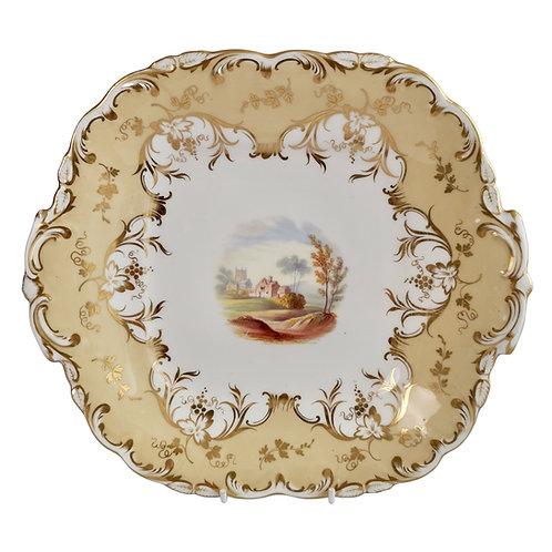 Coalport cake plate, beige with landscape, Adelaide shape, ca 1840