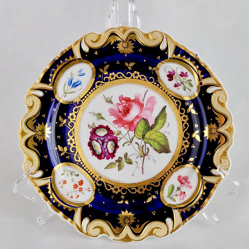 Ridgway dessert plate, moustache shape with sublime flowers, ca 1825 (4)