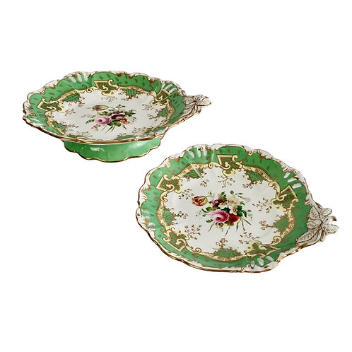 Samuel Alcock set of 2 low comports, green with flowers, ca 1835