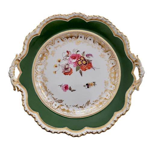 Ridgway twin-handled plate, green with hand painted flowers, ca 1825