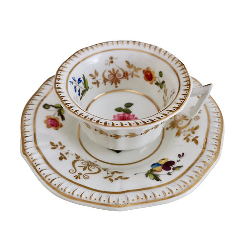 Machin teacup and saucer, hand painted flowers, ca 1825