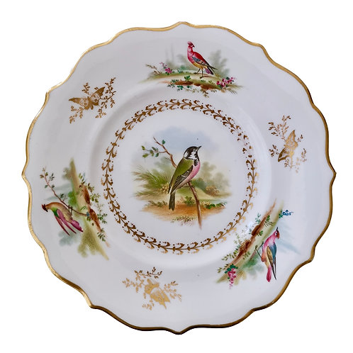 Staffordshire plate with Sèvres-style birds, ca 1835