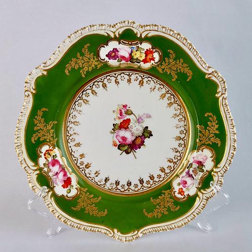 Coalport dessert plate, flowers by Josiah Patten, ca 1820
