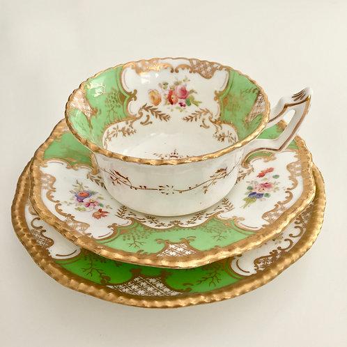 """Coalport """"Batwing"""" teacup trio in apple green, patt. Y2665, 1891-1920"""