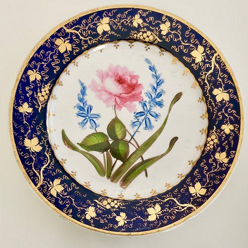 Coalport plate, cobalt blue, sublime rose, 1817-1820