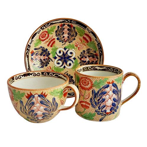 Wedgwood creamware trio, Chrysanthemum pattern ca 1815