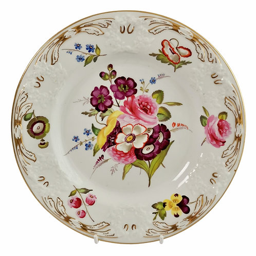 Coalport blind moulded plate, white with flowers, ca 1810
