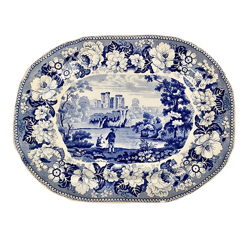 Knight & Elkin platter, blue and white Craig Castle, ca 1850