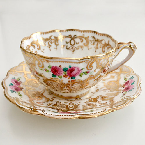 Teacup and saucer with gilt pattern, Ridgway 1855