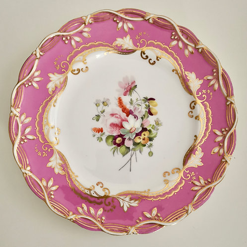 Coalport dessert plate, pink with flowers by Thomas Dixon, ca 1850