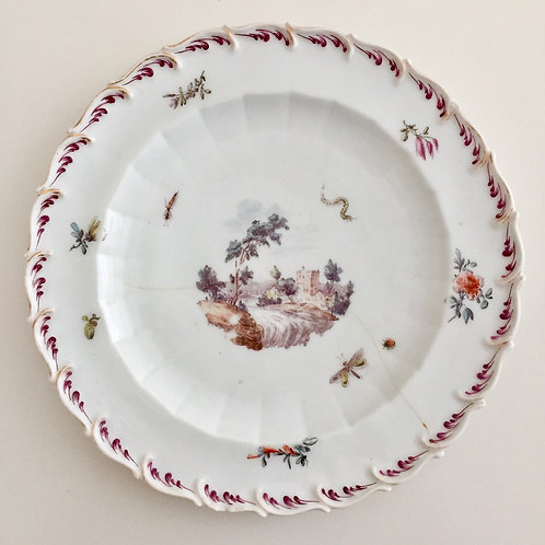 Chelsea feather-moulded plate with river landscape, ca 1758