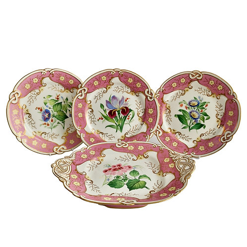 Samuel Alcock small dessert set, pink with flowers, Victorian 1854