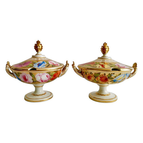 Coalport pair of sauce tureens, Marquess of Anglesey, ca 1820
