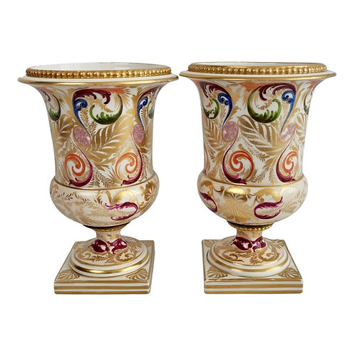 Pair of Bloor Derby campana vases, polychrome Regency pattern, ca 1815