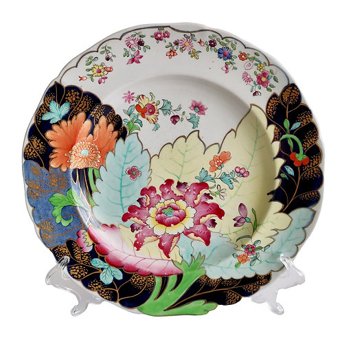 Spode dinner plate, polychrome Tobacco Leaf pattern, 1805-1813
