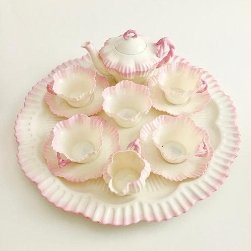 Cabaret tea set for four, blush pink Hexagon shape, Belleek 1891-1926