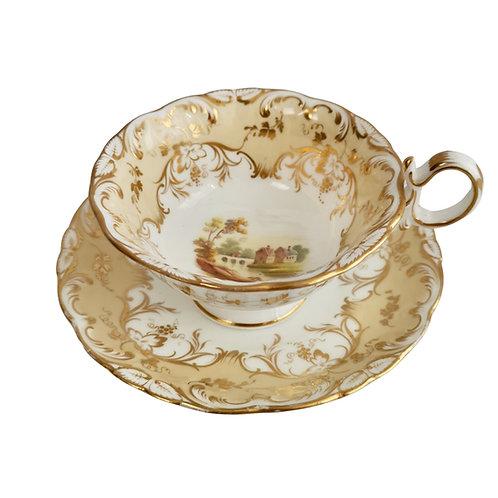 Teacup, Coalport beige with landscapes, Adelaide shape, ca 1840 (2)