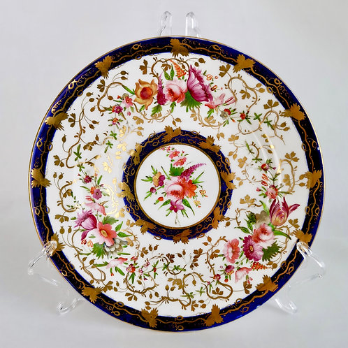 Coalport plate, cobalt blue and hand painted flowers, ca 1825